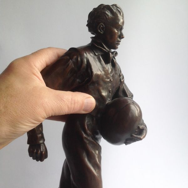 Bronze on Slate Sport sculpture by sculptor Graham Ibbeson titled: 'William Webb Ellis sculpture (Rugby Player statuette)' - Artwork View 3