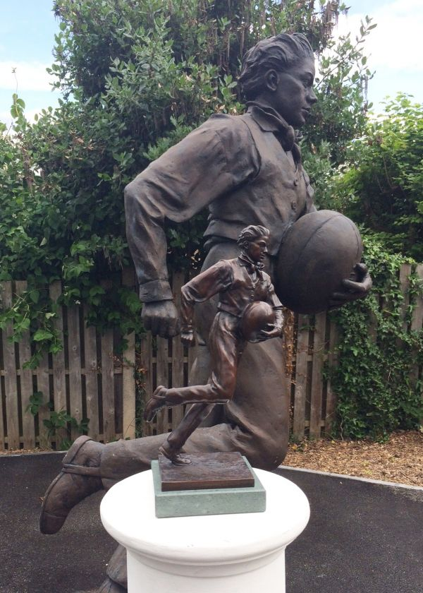 Bronze on Slate Sport sculpture by sculptor Graham Ibbeson titled: 'William Webb Ellis sculpture (Rugby Player statuette)' - Artwork View 5
