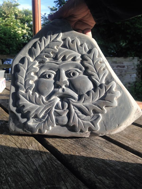Sculpture green man sold carved stone face slate