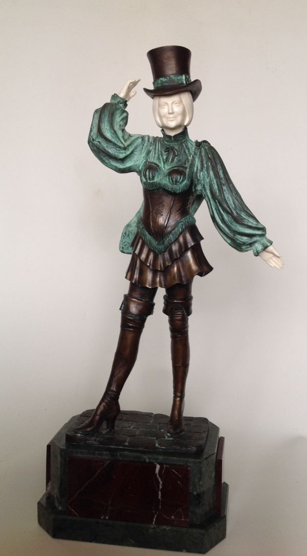 Bronze & Mammoth Tusk Females Women Girls Ladies sculpture statuettes figurines sculpture by sculptor Vitaliy Semenchenko titled: 'Lady with Hat (Small Art Deco Bronze sculpture)' - Artwork View 3