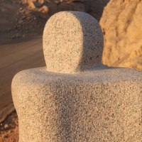 Figurative Abstract Modern or Contemporary Sculpture Statues statuary statuettes figurines by sculptor artist Ahmed Magdy Abdou titled: 'sculpture 1 (Carved Granite abstract garden statue)' in Pink granite
