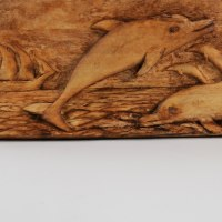 Carved Wood Sculpture by sculptor artist Adrian Arapi titled: 'Dolphins (Leaping and Sailing Ship in Maritime Panel)' in Wood