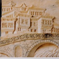 Carved Wood Sculpture by sculptor artist Adrian Arapi titled: 'Gorica Bridge Albania (Carved Wood Low Relief Pannel)' in Pine wood
