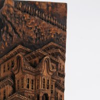 Carved Wood Sculpture by sculptor artist Adrian Arapi titled: 'Mother House (Carved Wood Relief Building sculpture)' in Pine wood
