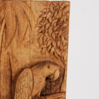 Wild Animals and Wild Life Sculpture by sculptor artist Adrian Arapi titled: 'Parrot (Carved Relief Wood Panel sculptures carvings)' in Wood