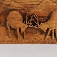 Carved Wood Sculpture by sculptor artist Adrian Arapi titled: 'Two Deers (In Rut Fighting Carved Wood Relief panels)' in Wood