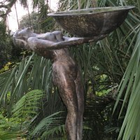 Nude Garden Yard Outdoor Outside Sculpture Statues by sculptor artist Anon of the East titled: 'Water Carrier (Art Deco life size nude garden Fountain)' in Bronze
