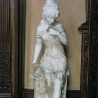 'Flower Gatherer (Carved marble Girl Indoor statue/statuary/sculptures)' by Anon of the Orient