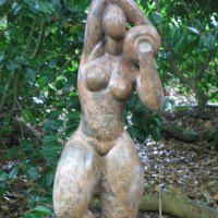 'nude with Urn (Modern Semi abstract Carved marble garden/Yard statue)' by Anon of the Orient