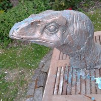 Partial Animal Sculpture Fragment or Part or Incomplete Statues statuettes by sculptor artist Anthony Bartyla titled: 'Velociraptor Bust (Prehistoric Monster`s Head statue)' in Cement