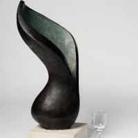 Plant Outdoor Outside Garden or Yard sculpture statue statuette by sculptor artist Beatrice Hoffman titled: 'Arum Lilly' in Bronze resin