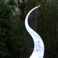 'Song of the Wind (Big stainless Steel abstract garden Harp sculptures)' by Ben Dearnley