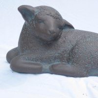 'Lamb (Sleeping Resting garden Yard sculpture statue)' by Carol Acworth