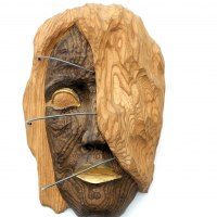 Mask, Wall Hung Faces and Part Heads by sculptor artist Dana Nachlinger titled: 'Wooden sculpture Africa (Carved Wood female Face Head Carving statue)' in Walnut wood and metal