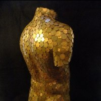 'Bent Copper (nude Male Torso Chest Copper Coins statue sculptures)' by David Corbett