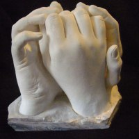 Anatomy, Hands and Feet and other human parts of the body Sculpture by sculptor artist David Corbett titled: 'Commissioned Hand Cast sculpture (Indoor Plaster Togetherness statuette)' in Plaster