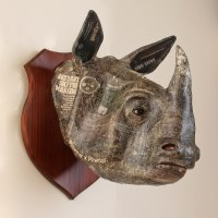 Asian Animals Reptiles Insects or Birds Sculpture or Statues by sculptor artist David Farrer titled: 'Indian Rhino (Wall Trophy Papier Mache Mask statue)' in Papier mache