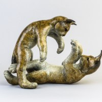 Asian Animals Reptiles Insects or Birds Sculpture or Statues by sculptor artist Eddie Hallam titled: 'Lynx Kittens at Play' in Bronze