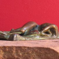 Sensuous Sexy Erotic (Nude Naked Girls Females Women Ladies) by sculptor artist Edward Fleming titled: 'Dream VIII (Bronze Naked Lover Maquette statuette)' in Bronze