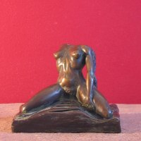 Sensuous Sexy Erotic (Nude Naked Girls Females Women Ladies) by sculptor artist Edward Fleming titled: 'Dream VII (Bronze Satieated nude Kneeling Girl maquette)' in Bronze