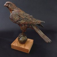 Varietal Mix of Bird Sculpture or Statues by sculptor artist Elliot Channer titled: 'Falcon' in Bronze