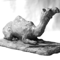 Asian Animals Reptiles Insects or Birds Sculpture or Statues by sculptor artist Fernando Collado titled: 'Arabian Camel' in Clay for bronze and white patination