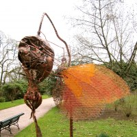 'Butterfly on Spiky Pod (Semi abstract Contemporary garden sculpture)' by Fiona Campbell