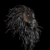 Partial Animal Sculpture Fragment or Part or Incomplete Statues statuettes by sculptor artist Georgie Poulariani titled: 'Guillermo (Contemporary Modern Lion`s Head statue)' in Steel