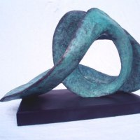 Birds Abstract Contemporary Stylised l Minimalist Sculpture / Statues by sculptor artist Gill Brown titled: 'Aquarius the Water Carrier (Modern abstract Bronze statue)' in Bronze