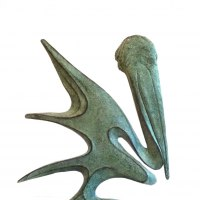 Birds Abstract Contemporary Stylised l Minimalist Sculpture / Statues by sculptor artist Gill Brown titled: 'Pelican (Bronze abstract Contemporary water Bird statue)' in Bronze