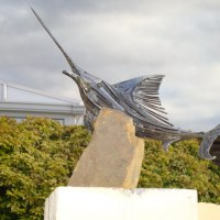 Wild Animals and Wild Life Sculpture by sculptor artist Graham Anderton titled: 'Sword Fish (Big Game Fish Outdoor Yard sculpture)' in Steel