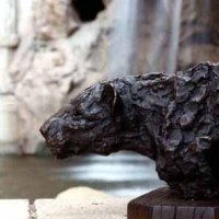 Partial Animal Sculpture Fragment or Part or Incomplete Statues statuettes by sculptor artist Jan Sweeney titled: 'Leopard Prowl (Bronze Torso Head sculpture statuette)' in Bronze