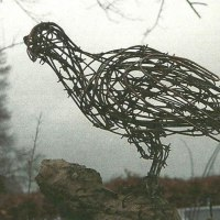 Birds Abstract Contemporary Stylised l Minimalist Sculpture / Statues by sculptor artist Jo Burchell titled: 'Watching Hawk 2 (fabricated Wire Raptor Bird of Prey statue statuette)' in Barbed wire, copper and galvanized wire