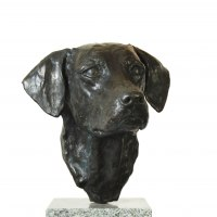 Partial Animal Sculpture Fragment or Part or Incomplete Statues statuettes by sculptor artist JOEL Walker titled: 'Devotion (Bronze Working Labrador Puooy Head statues)' in Bronze