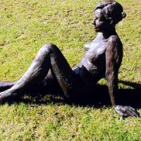 Teenagers Sculpture statuettes Portraits figurines commissions etc by sculptor artist Judy Ann Cropper titled: 'This n` That (Bronze resin nude Student Girl garden sculpture statue)' in Bronze resin