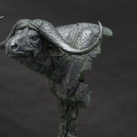 Partial Animal Sculpture Fragment or Part or Incomplete Statues statuettes by sculptor artist Keith Calder titled: 'Buffalo (Animal sculpture)' in Bronze