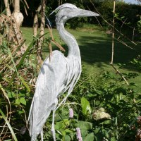 'Egret on Alert (Standing Water Bird Wader sculpture)' by Kenneth Potts
