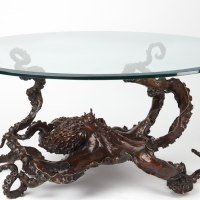 Octopus, Cuttle Fish, Squid, Pearly Nautilus Amonite by sculptor artist Kirk McGuire titled: 'Coffee Table Cephalopod (Big life size Octopus statue)' in Bronze