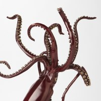 Octopus, Cuttle Fish, Squid, Pearly Nautilus Amonite by sculptor artist Kirk McGuire titled: 'Legend I (Bronze Realistic Giant Squid statue statuette sculpture)' in Bronze
