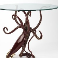 Octopus, Cuttle Fish, Squid, Pearly Nautilus Amonite by sculptor artist Kirk McGuire titled: 'Legend (Table version Bronze Squid sculpture/statues)' in Bronze