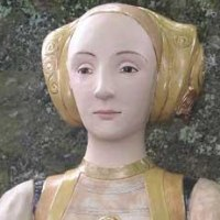 Busts and Heads Sculpture Statues statuettes Commissions Bespoke Custom Portrait Memorial Commemorative sculpture or statue by sculptor artist Lida Baas titled: 'Anne of Cleves' in Stoneware, glazed & gilded