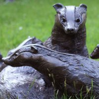 Badger, Otter, Beaver, Weasel, Stoat, Pine Martin, Wombat Sculpture by sculptor artist Lorne Mckean titled: 'Badger Family (Bronze resin life size garden Outdoor statue sculpture)' in Bronze resin