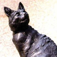 'Cat Benny (Big Portrait Sitting Seated sculptures Bronze resin)' by Lorne Mckean