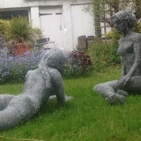 Nude Garden Yard Outdoor Outside Sculpture Statues by sculptor artist Lucia Corrigan titled: 'Women' in Wire mesh