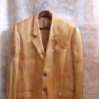 Carved Wood Sculpture by sculptor artist Luigi Bartolini titled: 'It`s not the Gay Coat makes a Gentleman (Carved Jacket statue)' in Lime wood