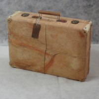 Carved Wood Sculpture by sculptor artist Luigi Bartolini titled: 'My Roots (Wood Suitcase Valise Luggage sculptures)' in Arolla pine wood