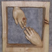 Anatomy, Hands and Feet and other human parts of the body Sculpture by sculptor artist Luigi Bartolini titled: 'Parting (Carved Wood Farewell Lovers Hands statue)' in Arolla pine wood