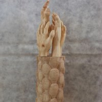 Anatomy, Hands and Feet and other human parts of the body Sculpture by sculptor artist Luigi Bartolini titled: 'Need working Arms, come people (carved Hands statue)' in Arolla pine, maple woods