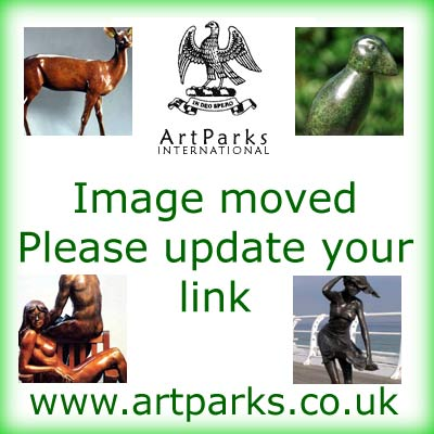 Wild Animals and Wild Life Sculpture by sculptor artist Marie Ackers titled: 'Hare study I (Mad March Hare Sitting Alert statuette)' in Bronze resin