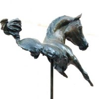 Partial Animal Sculpture Fragment or Part or Incomplete Statues statuettes by sculptor artist Marie Ackers titled: 'Kohulan - Bay (abstract Little Indoor Arab Horse statue)' in Bronze